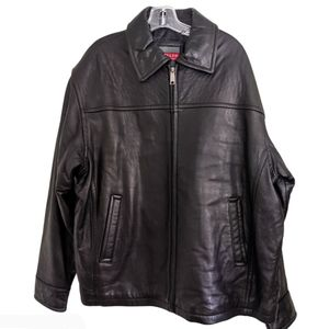 Excelled Men's Collection Black Leather Zip Jacket